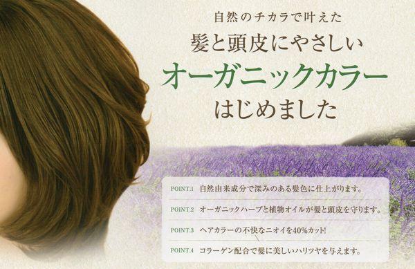 髪と頭皮にやさしいオーガニックカラーで、低刺激・低ダメージを実感。